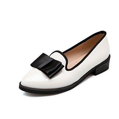 Women's Shoes Leatherette Spring Summer Fall Chunky Heel Bowknot for Casual Office & Career Dress White Black Burgundy