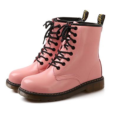 Bottes Arrondi Femme Rangersbout Bas Cuir Habillé Talon Chaussures YvwUAqY