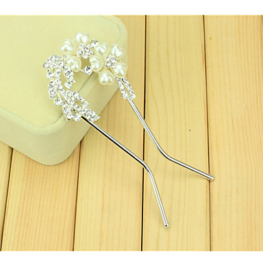 Sydkoreanska hår kammar bruden U-formad klämma hårnål kam borra två blommor med dubbel nål twist
