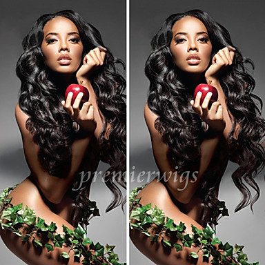 Äkta hår Obehandlat Mänsligt hår Spetsfront Peruk stil Brasilianskt hår Vågigt Kroppsvågor Peruk 130% Hårtäthet med babyhår Naturlig hårlinje Afro-amerikansk peruk 100 % handbundet Dam Korta Mellan