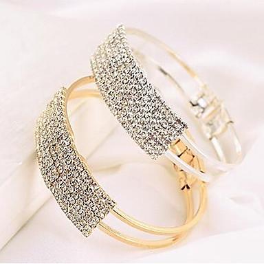 Dam Armringar Tennis Armband damer Ledigt Mode Bergkristall Armband Smycken Guld / Silver Till Dagligen