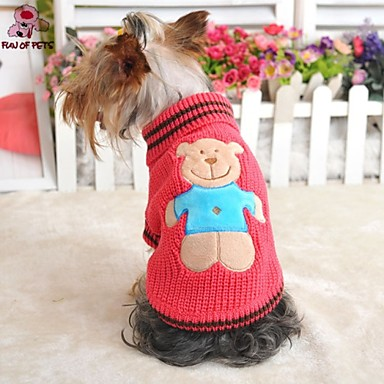437f2dc7a27644 [$11.21] Gato Cachorro Súeters Roupas para Cães Desenho Animado Amarelo  Vermelho Verde Ocasiões Especiais Para Inverno Fantasias Casamento