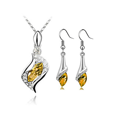 cheap Jewelry Sets-Women's Sapphire Crystal Citrine Jewelry Set Drop Earrings Pendant Necklace S Shaped Solitaire Marquise Cut Drop Ladies Fashion Elegant Crystal Cubic Zirconia Rhinestone Earrings Jewelry Green