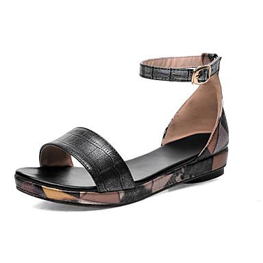 Γυναικεία παπούτσια - Πέδιλα - Καθημερινά - Χαμηλό Τακούνι - Ανοιχτή Μύτη -  Δερματίνη - Μαύρο   Χρυσό 4103240 2019 –  34.99 3575b1f6fba