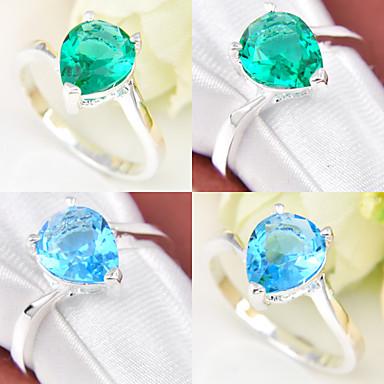 levne Dámské šperky-Dámské Vyzvánění Topaz Zelená Modrá Postříbřené Geometric Shape dámy Svatební Párty Šperky Vodnář / Křišťál