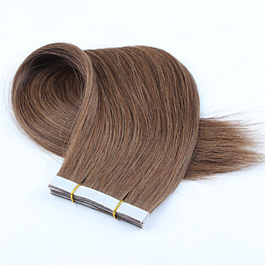 preiswerte Echthaar Haarverlängerungen-Zum Festkleben Haarverlängerungen Glatt Echthaar Dunkeles Rotbraun