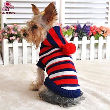 Katt Hund Tröjor Huvtröjor Hundkläder Rand Gul Röd Ull Kostym Till Vinter Cosplay Bröllop