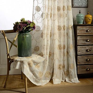 land curtains® en panel elfenben blom- broderade ren gardin drapera