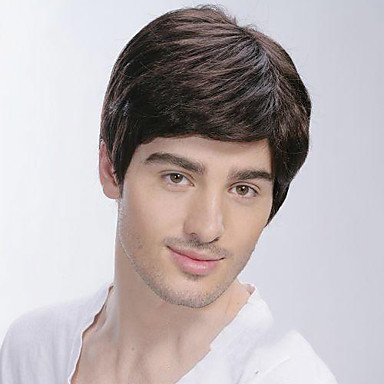 cheap Toupees-Synthetic Wig Straight Straight With Bangs Wig Short Black Synthetic Hair Men's Side Part Brown