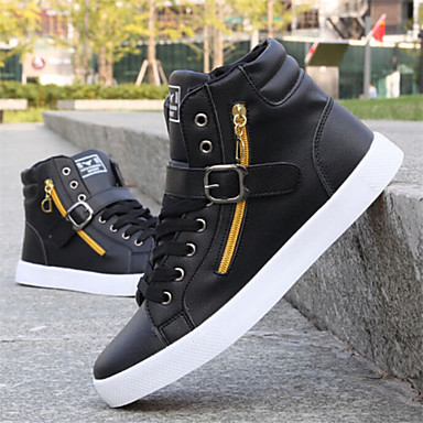 cheap Men's Sneakers-Men's Sneakers Comfort Shoes Sporty / Casual Daily Outdoor Walking Shoes Faux Leather Wear Proof Black / White Winter / EU40