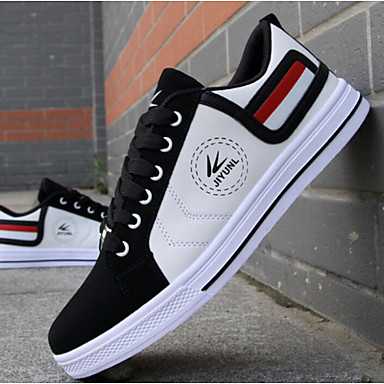 cheap Men's Sneakers-Men's Comfort Shoes Fall Sporty / Casual Daily Outdoor Sneakers Walking Shoes Faux Leather Wear Proof White / Red / Yellow Color Block / EU40