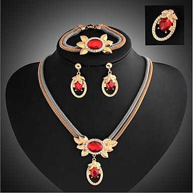 Smycken Set damer Vintage Fest Länk / kedja Europeisk Mode Kubisk Zirkoniumoxid örhängen Smycken Guld / Röd Till Party Speciellt Tillfälle Årsdag Födelsedag Förlovning Gåva / Örhängen