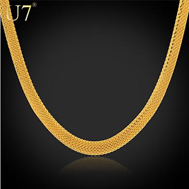 Halsband damer Vintage Fest Kontor 18K Guldpläterad Rostfritt stål Guldpläterad Guld Vit Halsband Smycken Till Speciellt Tillfälle Födelsedag Gåva