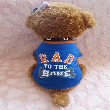 Hund T-shirt Hundkläder Blå / Gul Kostym Cotton XS S M