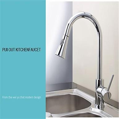 Nutida Utdragbar / Pull-down Horisontell montering Utdragbar dusch Keramisk Ventil Singel Handtag Ett hål Krom, Kökskran