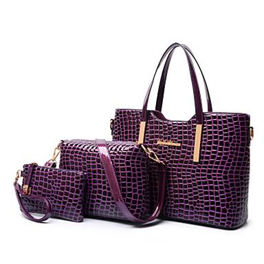 cheap Bag Sets-Women's Patent Leather / PU Tote / Shoulder Messenger Bag / Bag Set Bag Sets Solid Colored 3 Pcs Purse Set Black / Purple / Red