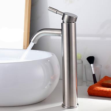 Badrum Tvättställ Kran - Vattenfall Nickelborstad Hål med bredare avstånd Ett hål / Singel Handtag Ett hålBath Taps