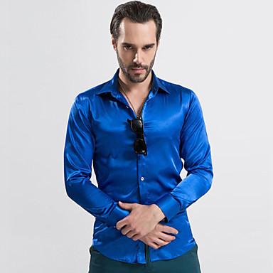 Masculino Camisa Casual   Escritório   Formal Cor Solida Acrílico   Algodão    Rayon   Cetim   Seda Manga Comprida Masculino de 4298549 2019 por  18.07 4c5331a4dfc57