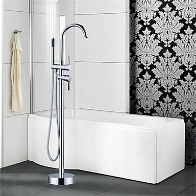Badkarskran - Konst Dekor / Retro Krom Golvmonterad Keramisk Ventil Bath Shower Mixer Taps / Två handtag Ett hål