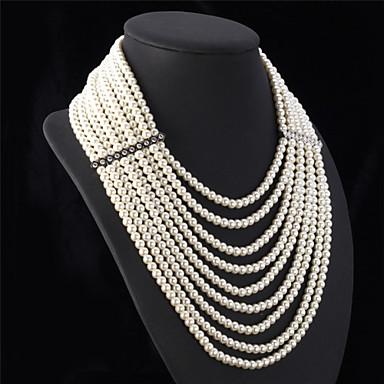 preiswerte Lange Halskette-Damen Perlen Statement Ketten Lange Halskette Perlenkette Mehrlagig damas Luxus Elegant Mehrlagig Perlen Weiß Modische Halsketten Schmuck Für Hochzeit Party Jahrestag Herzliche Glückwünsche Cosplay