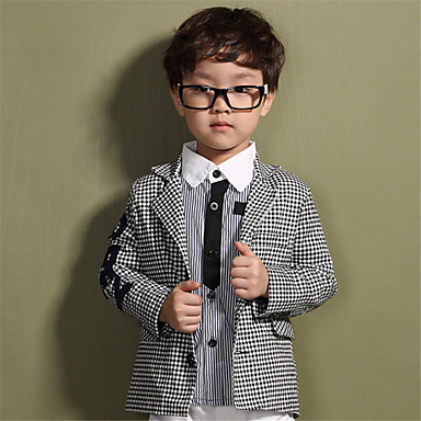 Spring Fall Kids Boys Casual Wedding Suit White Black Plaid Letter
