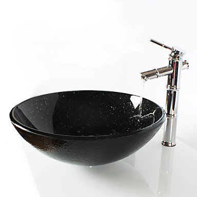 Black Round Tempered Glass Vessel Sink With Bamboo Faucet Pop Up