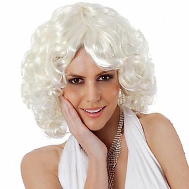 Syntetiska peruker Lockigt Lockigt Asymmetrisk frisyr Peruk Korta Vit Syntetiskt hår Dam Naturlig hårlinje Mittbena Vit