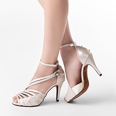 preiswerte Latein Schuhe-Damen Tanzschuhe PU Leder / Satin Schuhe für den lateinamerikanischen Tanz / Salsa Tanzschuhe Schnalle Sandalen Maßgefertigter Absatz Maßfertigung Grau / Aktmalerei / Schwarz / EU41