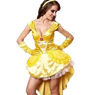 häxa Prinsessa Cosplay Kostymer / Dräkter Dam Halloween Karnival Festival / högtid Terylen Cotton Gul Dam Karnival Kostymer / Handskar / Huvudbonad