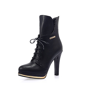 19ccc0fb77e5 Femme Chaussures Similicuir Hiver boîtes de Combat Talon Aiguille Plateau  Bottine Demi Botte Fermeture A Carreaux Pour Décontracté Blanc de 4273080  2019 à ...
