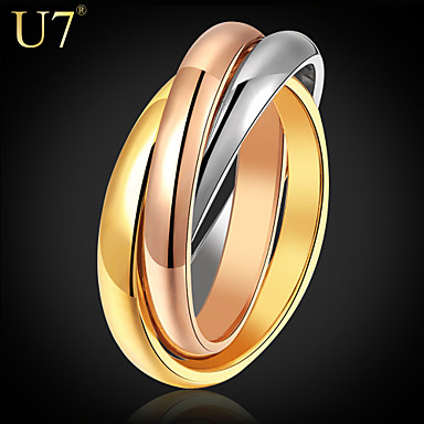 cheap Rings-Women's Ring Rainbow Stainless Steel Gold Plated Rose Gold Plated Ladies Unusual Unique Design Wedding Daily Jewelry Stack Two tone Russian Wedding Ring