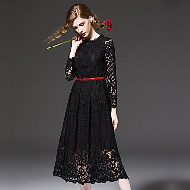 b949f41c52ce Γυναικεία Φόρεμα Δαντέλα   Κοφτό   Δίχτυ Στρογγυλή Λαιμόκοψη Μίντι  Μακρυμάνικο Δαντέλα 4324257 2019 –  104.98