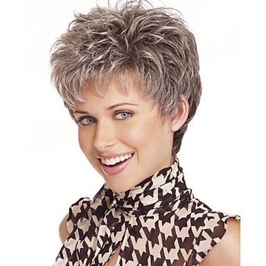 Syntetiska peruker Naturligt vågigt Naturligt vågigt Pixie-frisyr Peruk Korta Grå Syntetiskt hår Dam Grå StrongBeauty