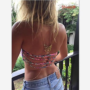 levne Dámské šperky-Dámské Tělové ozdoby Kovový pás / Tělo Chain / Belly Chain / Harness náhrdelník Syntetický safír / Barva ozdobného kamene Přírodní černá Zlatá dámy / Jedinečný design / Evropský Syntetické drah