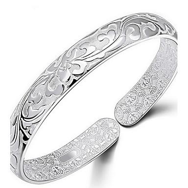 billiga Modearmband-Dam Armringar Blomma damer Italienska För vardagsbruk Sterlingsilver Armband Smycken Silver Till Dagligen Casual Sport