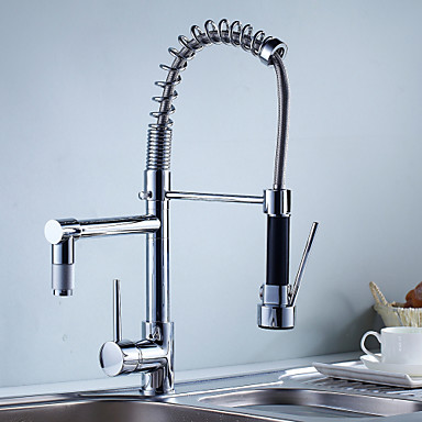 [$100.93] Kitchen faucet - One Hole Chrome Pull-out / Pull-down Deck  Mounted Contemporary Kitchen Taps / Single Handle One Hole
