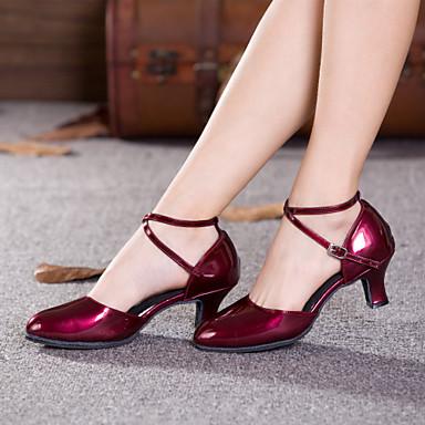 ieftine Pantofi Dans Clasic & Modern-Pentru femei Pantofi Moderni / Sală Dans Piele Originală Buclă Călcâi Cataramă / Decupat Toc Cubanez NePersonalizabili Pantofi de dans Vișiniu / Negru / Roșu / Interior / Performanță / Antrenament