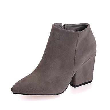 def16f8531a9 Chaussures Femme - Habillé   Décontracté - Noir   Marron   Gris - Gros  Talon - Bottine   Bout Pointu   Bout Fermé - Bottes - Daim de 4311924 2019  à  39.99