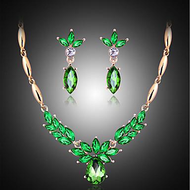 Pärla Smycken Set Hänge Halsband Marquise damer Vintage Fest Mode Elegant Kubisk Zirkoniumoxid örhängen Smycken Smaragd Till Bröllop Party Speciellt Tillfälle Årsdag Födelsedag Förlovning / Örhängen