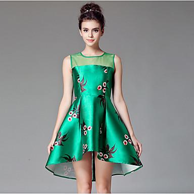 Γυναικεία Φόρεμα Λουλούδι   Δίχτυ Στρογγυλή Λαιμόκοψη Ασύμμετρο Αμάνικο  Ρωμαϊκή Πλέξη 4423232 2019 –  27.29 e62b60f7966