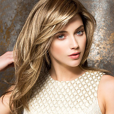 Mänskligt hår Peruk Mellan Vågigt Frisyr i lager Med lugg Vågigt Sidodel Utan lock Dam Beige Blondin / Blekblondin Honung Blondin / Blekblondin Ljus Auburn