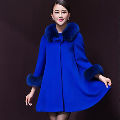 Casual Piel Abrigo Mujeres De Tweed Las Grandes Tallas CwtOqUw