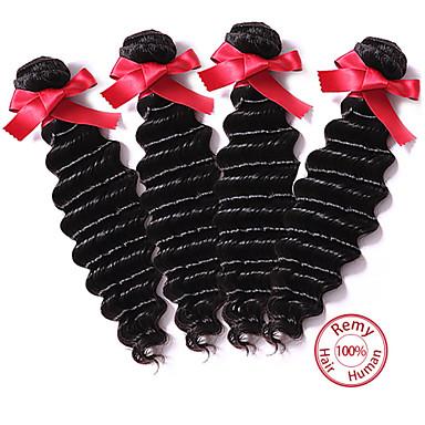 4 paket Peruanskt hår Stora vågor Human Hår vävar Hårförlängning av äkta hår Människohår förlängningar / 8A