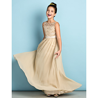 cheap Baby & Kids-A-Line Scoop Neck Floor Length Chiffon / Lace Junior Bridesmaid Dress with Lace / Natural / Mini Me