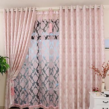 Två paneler Fönster Behandling Rustik / Nyklassisistisk / Europeisk Bedroom Poly/Bomull blend Material Blackout Gardiner draperier