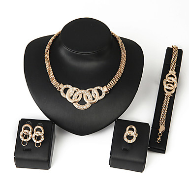 cheap Jewelry Sets-Necklace,Jewelry,XIXI Women Latest Fashion Alloy Rhinestone Imitation Pearl Necklace/Earrings/Bracelets/Rings Sets