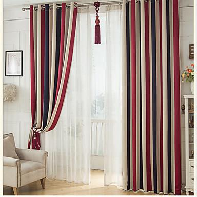 blackout gardiner draperier två paneler sovrum stripe polyester print & jacquard