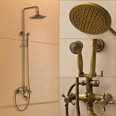 Duschkran - Traditionell Antik mässing Duschsystem Keramisk Ventil Bath Shower Mixer Taps / Mässing / Två handtag tre hål