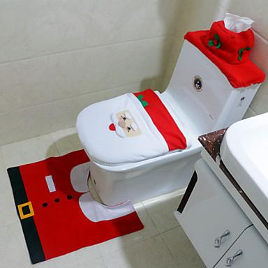 1set moderne jul santa claus badeværelse toilet sæde dækning ...