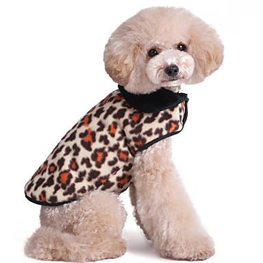 Katt Hund Väst Hundkläder Leopard Kamoflagefärg Brun Leopard Polär Ull Cotton Kostym Till Vår & Höst Vinter Herr Dam Håller värmen Mode